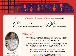 Home page of Cucina Rosa's site as built and managed by ServiceWebs