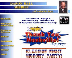 Home page of DaronHall.com, which was deactivated three months after a very successful campaign.