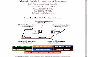 Home page of the former Mental Health Association of Tennessee. (Agency is no longer online.)